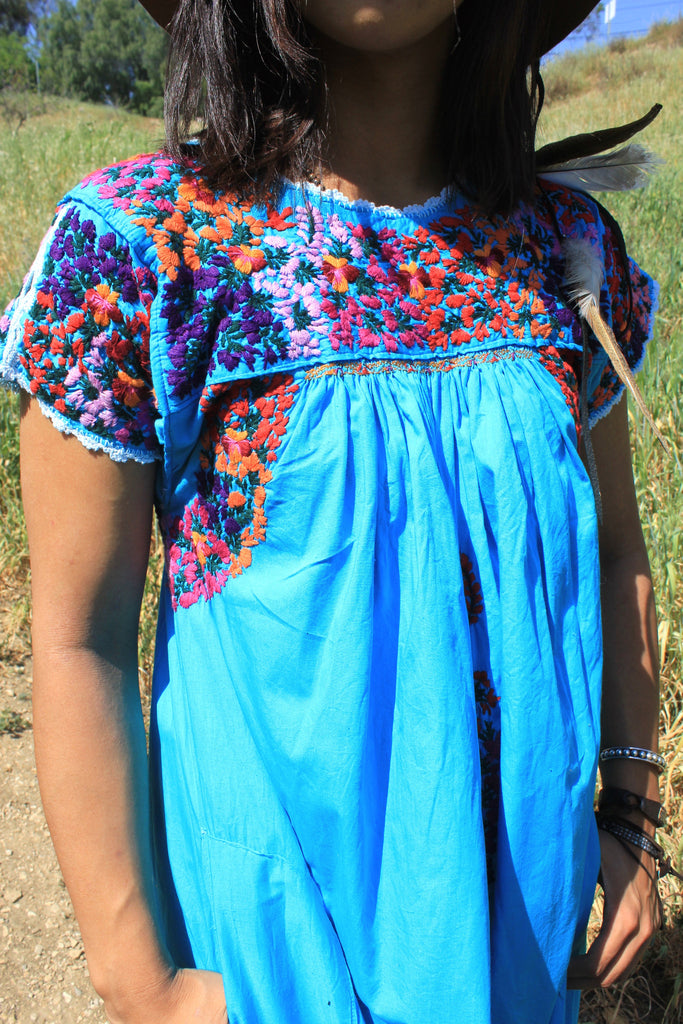 Turquoise Blue Vintage Oaxacan Dress