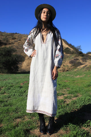 """Bohemian Folk"" Antique Hand Embroidered Hemp Peasant Dress"
