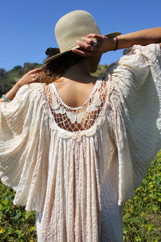 """Crochet Butterflies"" Vintage Gauzy Ombre Greek Dress"