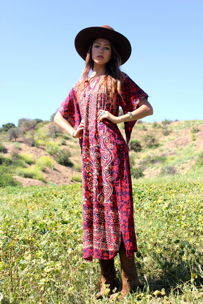 1970s Chain Stitched Dashiki Maxi Dress