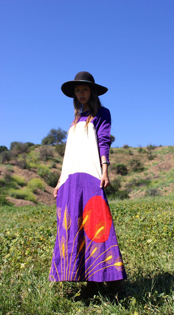"RESERVED ""Blood Moon II"" 1970s Mama Carlota Handmade Maxi Dress"