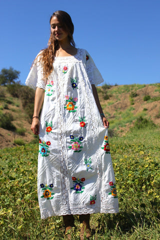 Hand Embroidered Mexican Maxi Dress Circa ~ 1970s