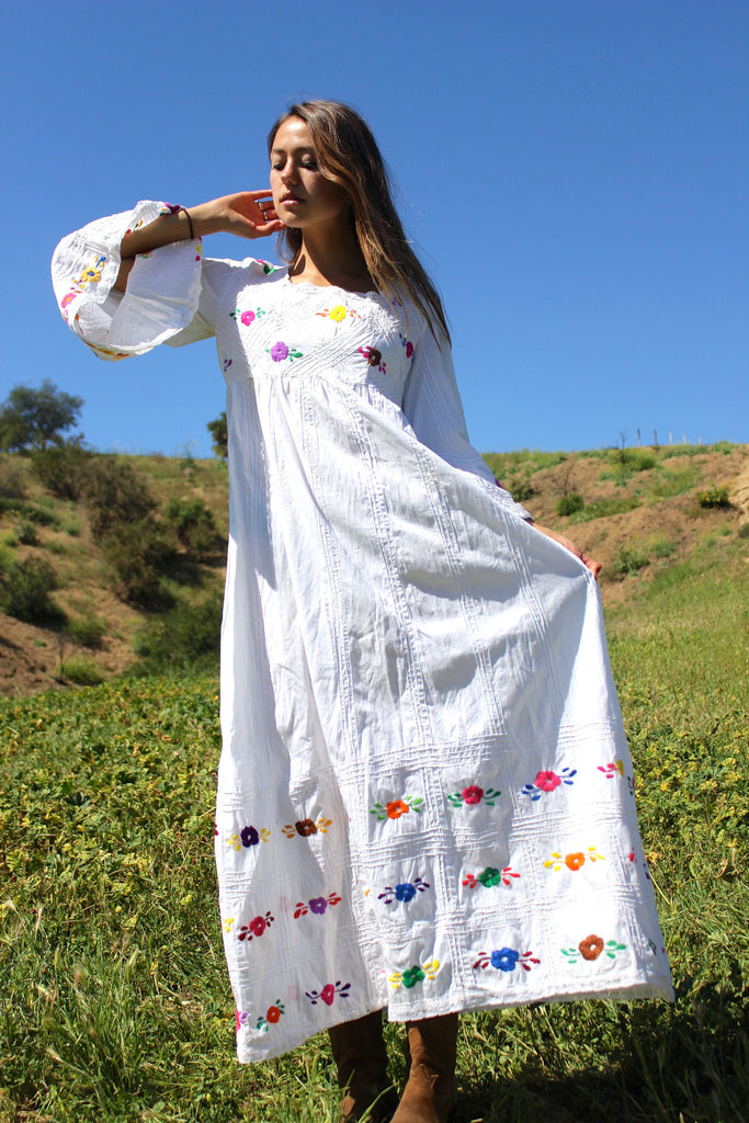 """Bohemian Wedding"" Vintage Mexican Hand Embroidered Maxi Dress"