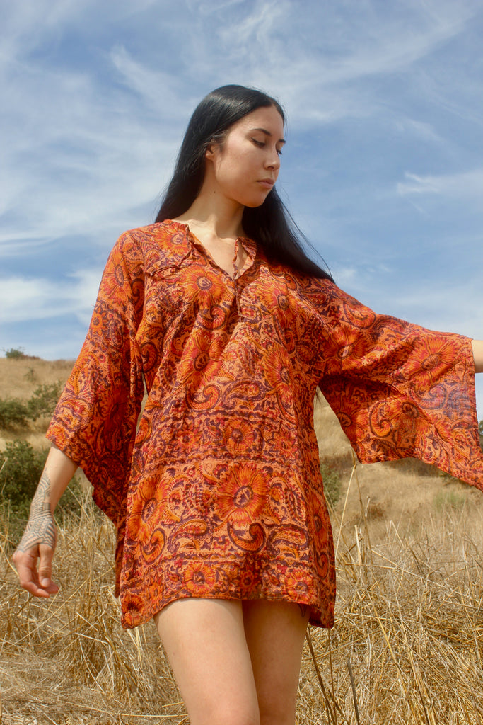 1970s handwoven indian block print tunic size