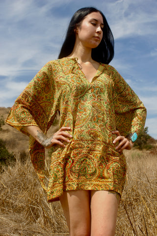 1970s Handwoven Indian Block Print Tunic Size Small