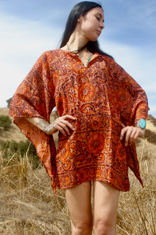 1970s Handwoven Indian Block Print Tunic Size Medium Burnt Orange and Eggplant