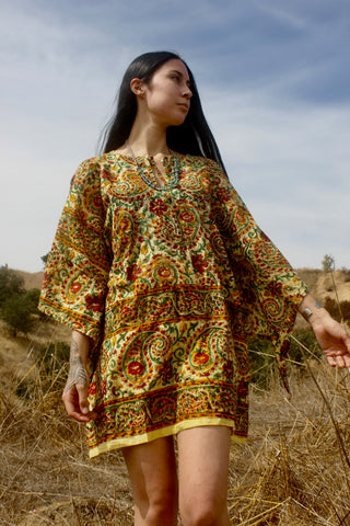 1970s Handwoven Indian Block Print Tunic Size Large Goldenrod Paisley