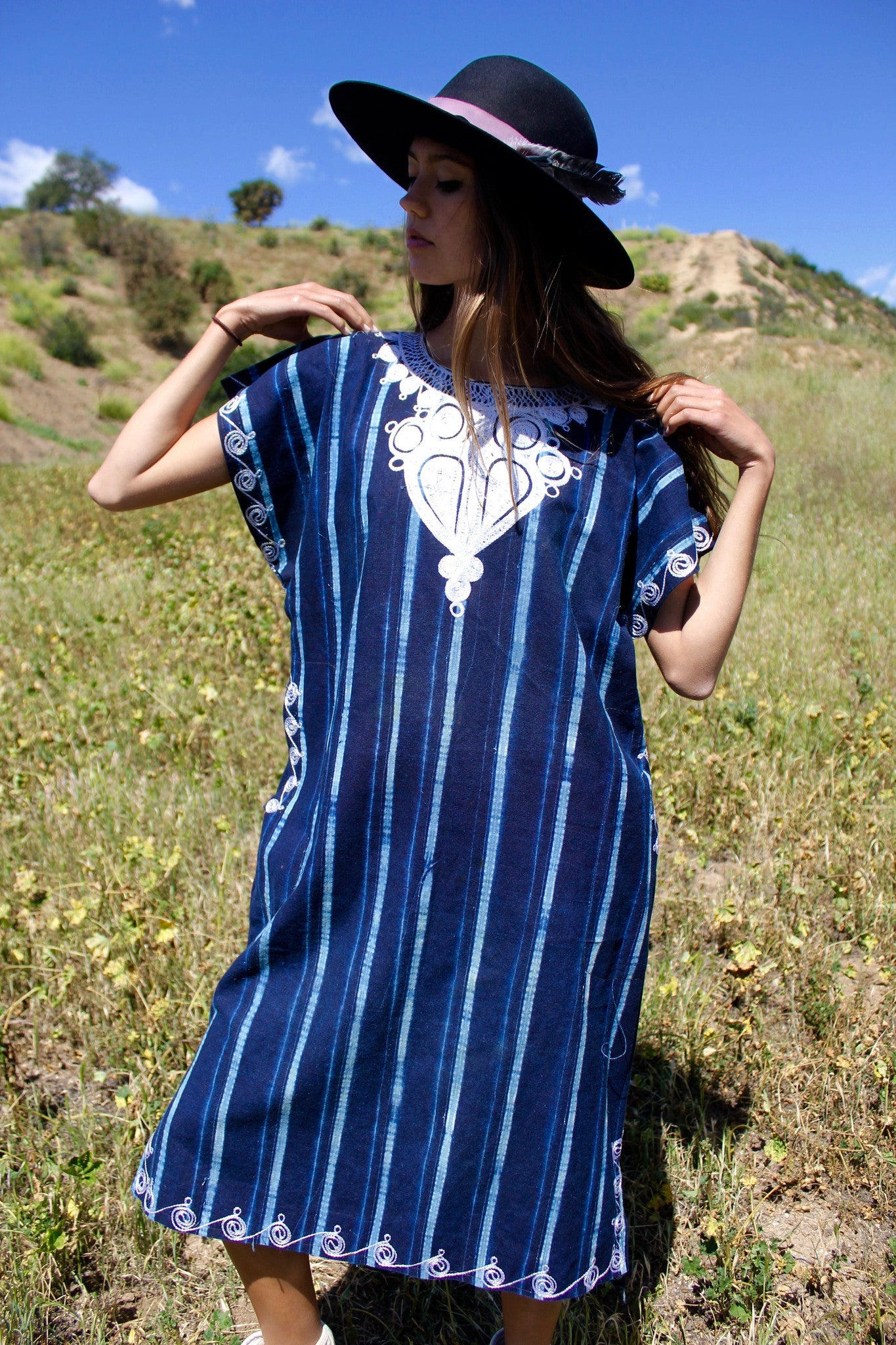 Vintage African Indigo Tunic with Chain Stitch Embroidery