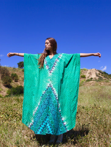 """Emerald Kaftan"" Vintage Indian Cotton Kaftan"