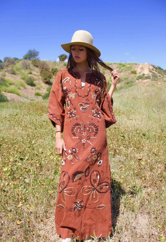 """Mexican Butterflies"" Vintage Hand Embroidered Cotton Maxi Dress"