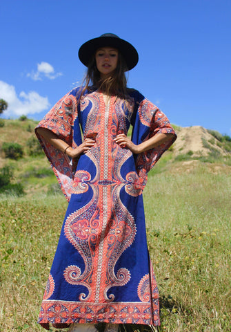 """Dramatic Dashiki"" Vintage Cotton Maxi Dress 1970s"