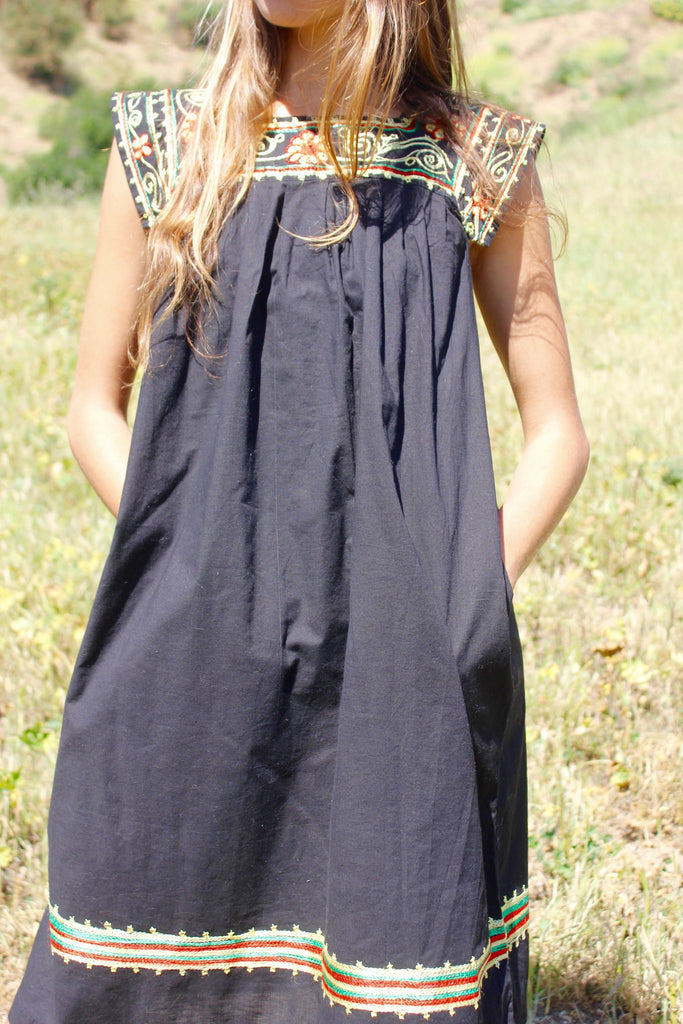 Vintage Chain Stitch 1970s Tunic Dress