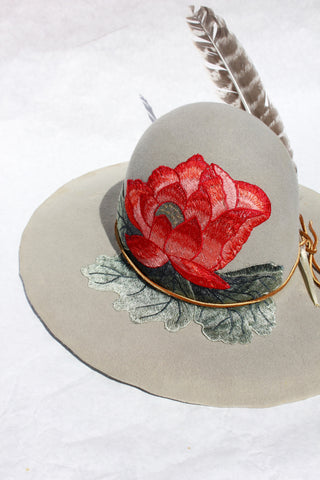 "The ""Honey Hawk"" Hand Embroidered Collaboration One-of-A-Kind Hat"