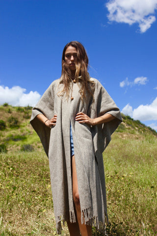 """Desert Companion"" Vintage Woven Wool Crochet Collar Poncho /Cape"