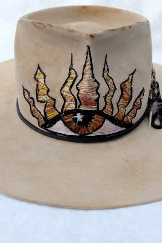 """The Eye Rancho"" Custom Hand Embroidered Lone Hawk Hat"