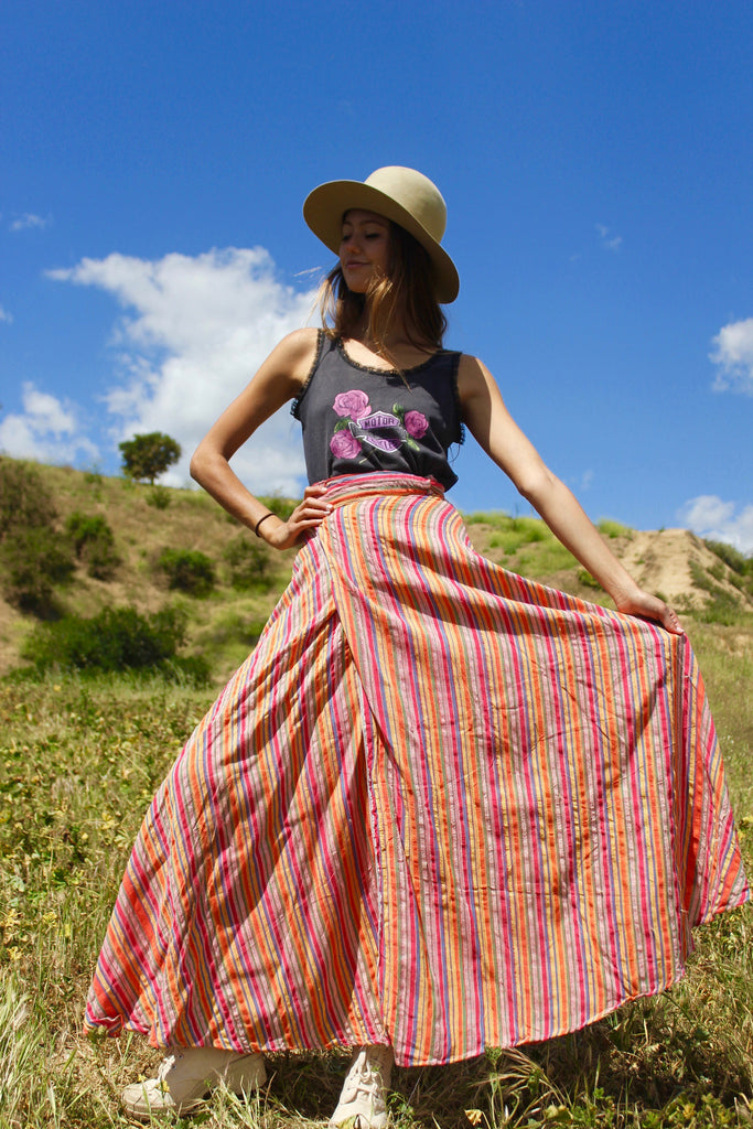 """Stripes of Spring"" Dead Stock 1970s Pakistani Cotton Maxi Wrap Skirt"