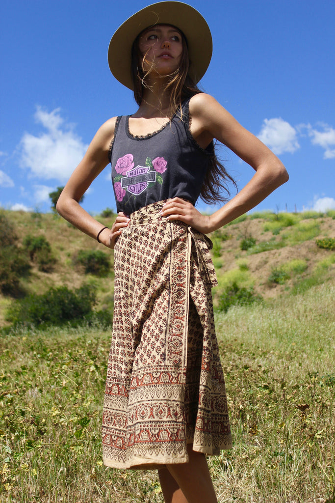 Classic 1970s Vintage Indian Block Print Wrap Skirt