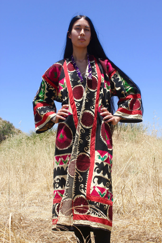 """Tribal Folk"" Antique Handmade Suzani Coat/Duster"