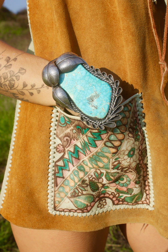Breathtaking and RARE Exceptional and Huge Old  Navajo Turquoise Cuff Bracelet