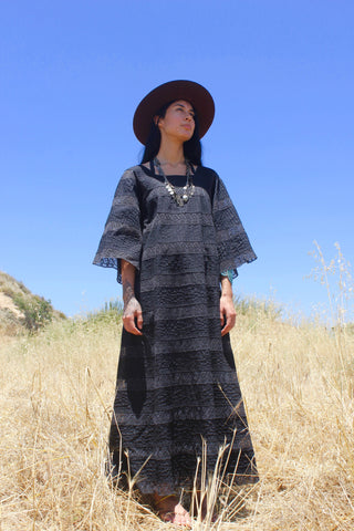"""Gothic Ranch"" Mid-Century Mexican Maxi Dress"