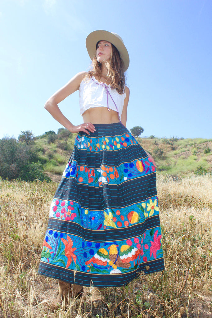 Stunning Vintage Mexican Hand Embroidered Maxi Skirt