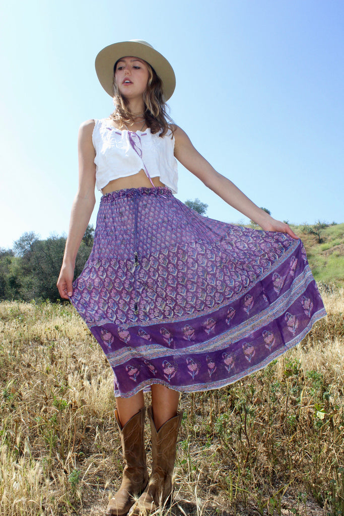 """Shades of Purple"" 1970s Gauze Indian Skirt"