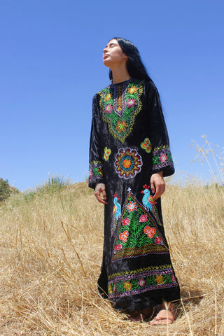 """Sister of the Moon"" Black Velvet Embroidered Kaftan"