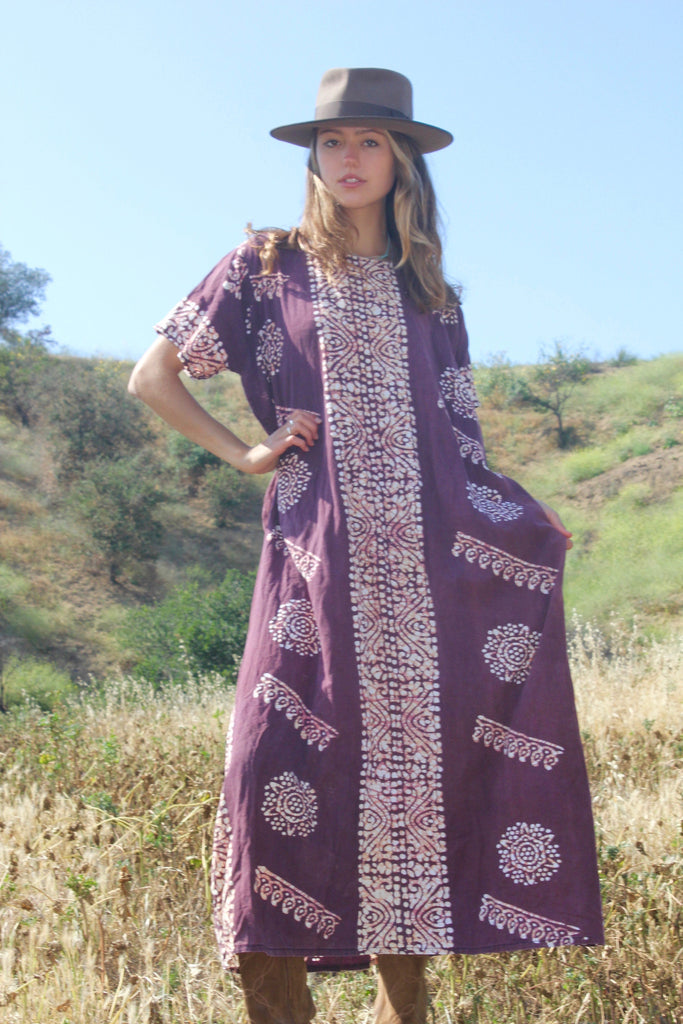 Vintage Indian Batik Tunic Dress