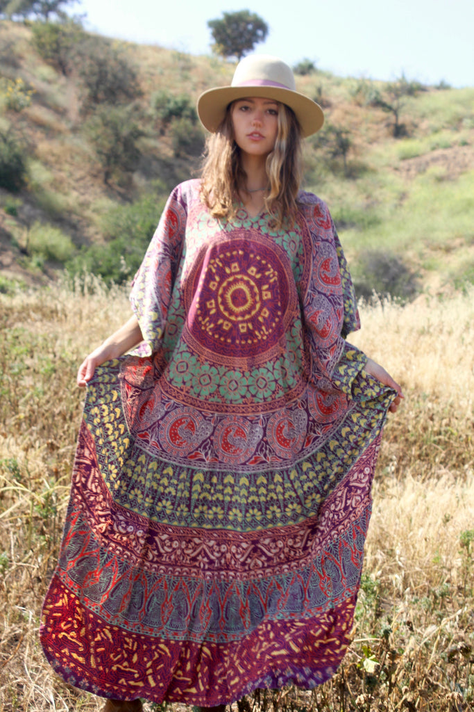 RESERVED Gorgeous Vintage Indian Block Print Kaftan