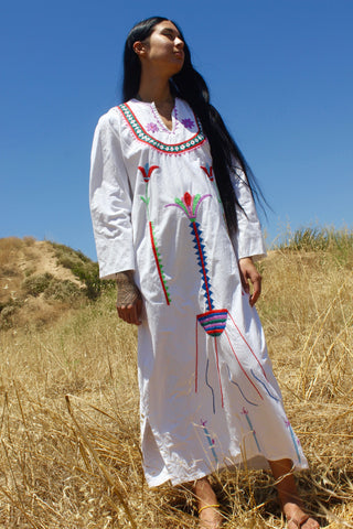 """Amunet"" Vintage Egyptian Hand Embroidered Maxi Dress"