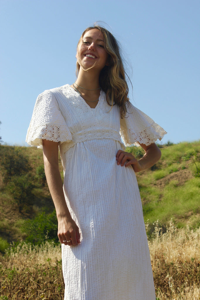 Vintage Bohemian Mexican Wedding Dress circa 1970s