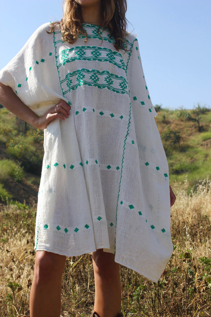 """Siesta Key"" Vintage Handwoven Mexican Huipil Tunic"