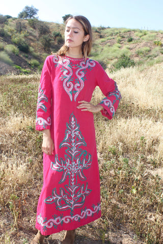 """Embroidered Indian Rose"" 1970s Indian Cotton Hand Embroidered Dress"