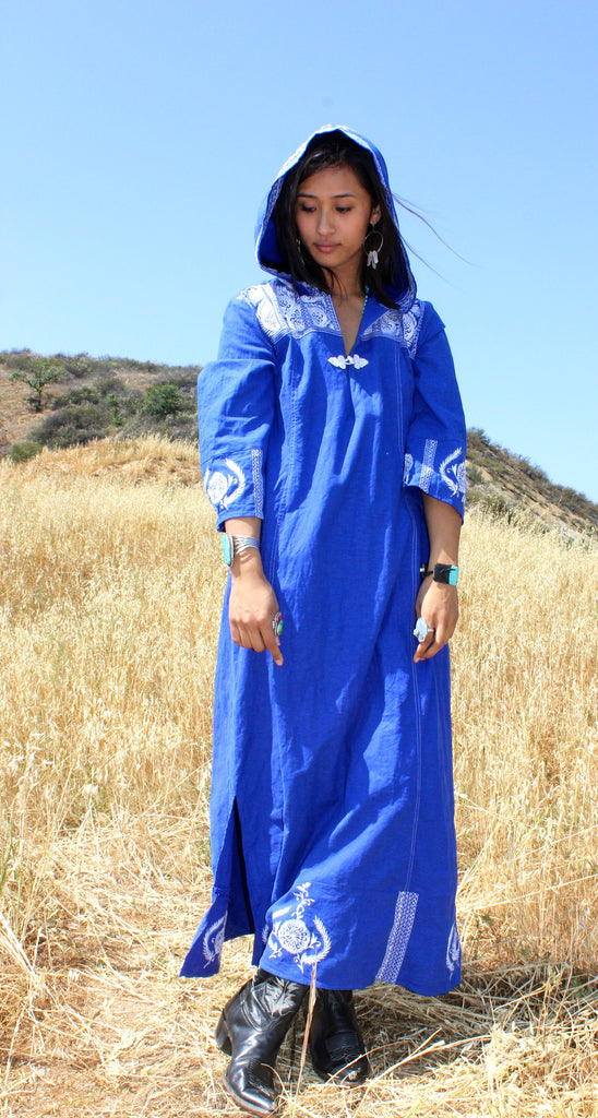 Vintage Embroidered Hooded Maxi Dress Kaftan