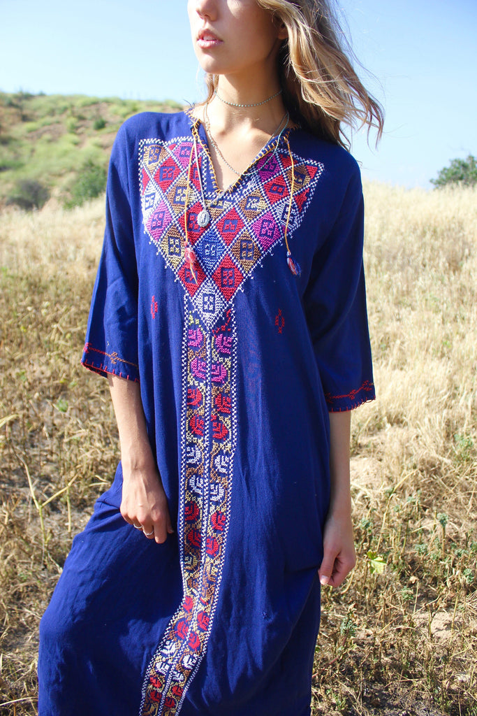 RESERVED Navy Bedouin Cross Stitched Vintage Maxi Dress