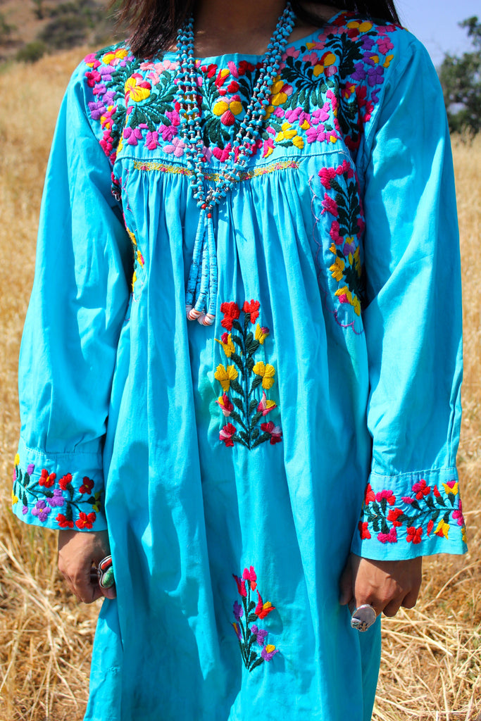 Vibrant Turquoise Hand Embroidered Oaxacan Dress