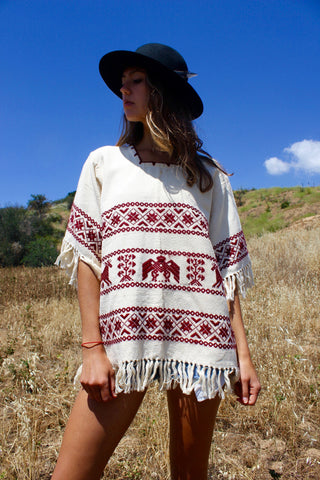 Vintage Handwoven Mexican Tunic Blouse