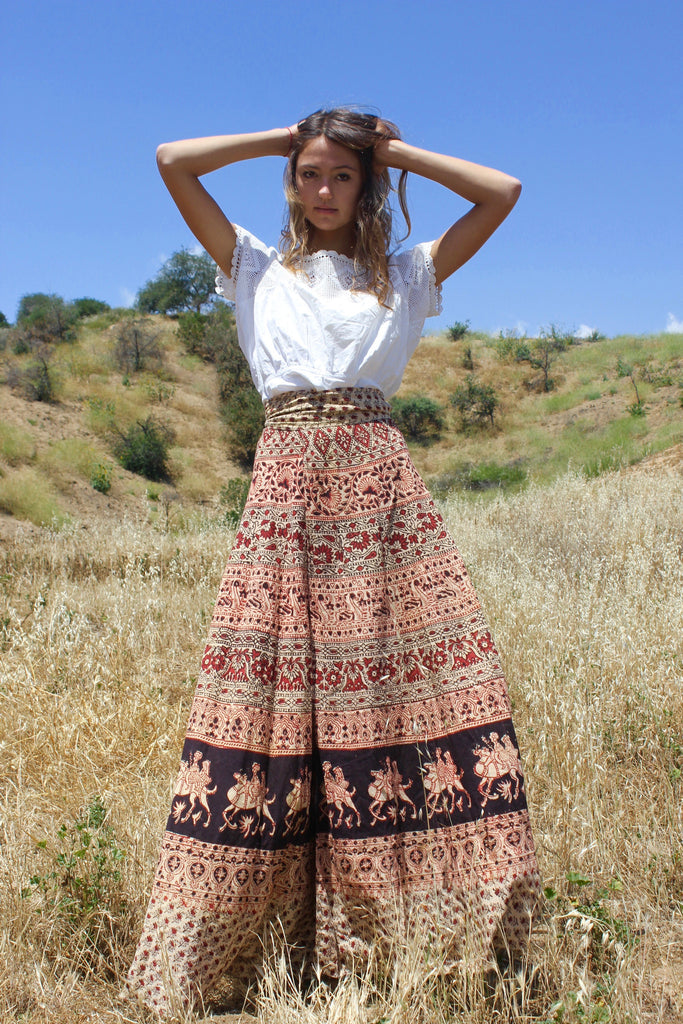 1970s Indian Wrap Skirt Super Long And Ultra Yummy