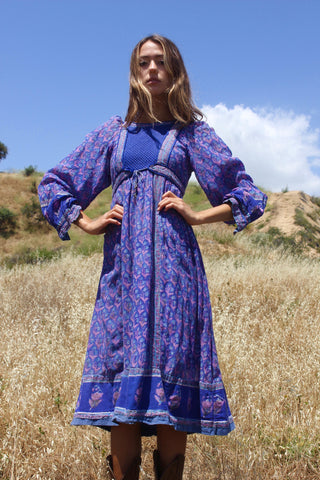 """Azure Hues"" Vintage Indian Gauze Dress"
