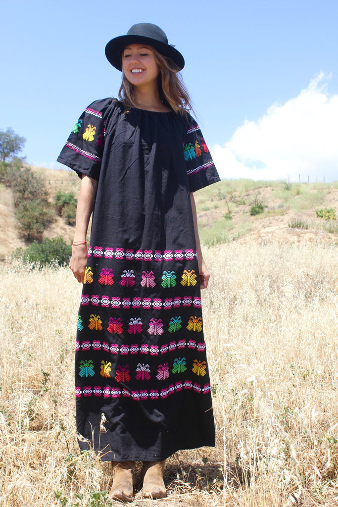 """Guatemalan Butterflies"" Vintage Handwoven Maxi Dress"