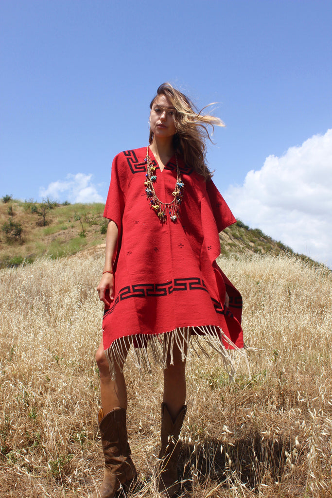 Classic Vintage Handwoven Mexican Wool Poncho