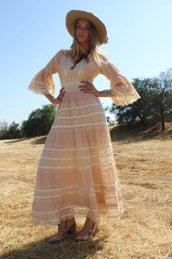 """Bohemian Folk"" Gorgeous Vintage Mexican Wedding Dress"