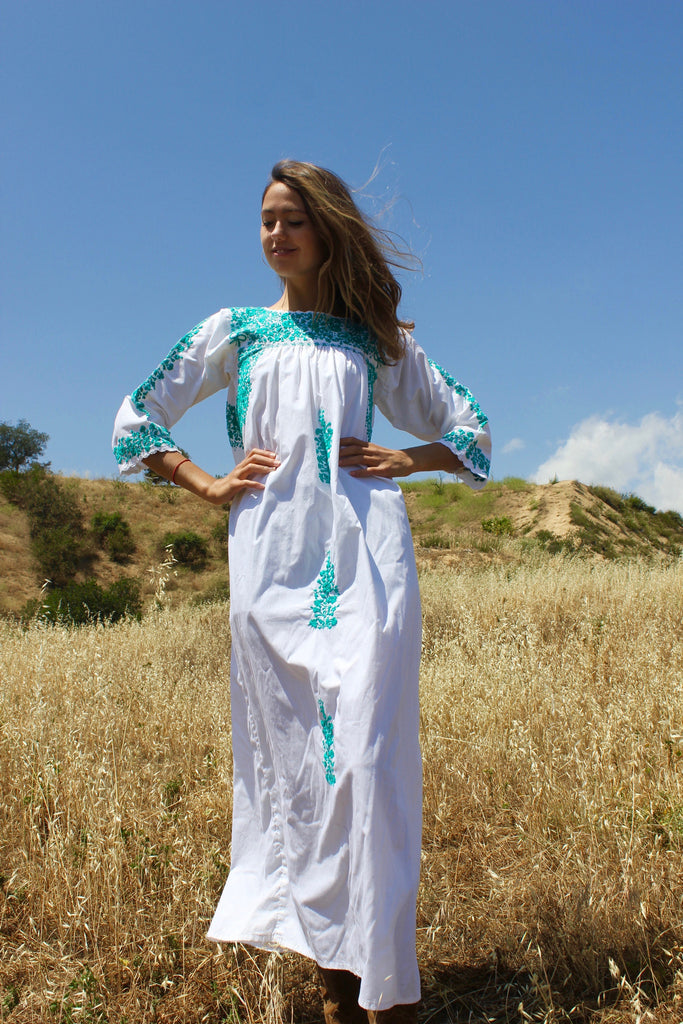 Vintage Oaxacan Maxi Dress Jade Hand Embroidery