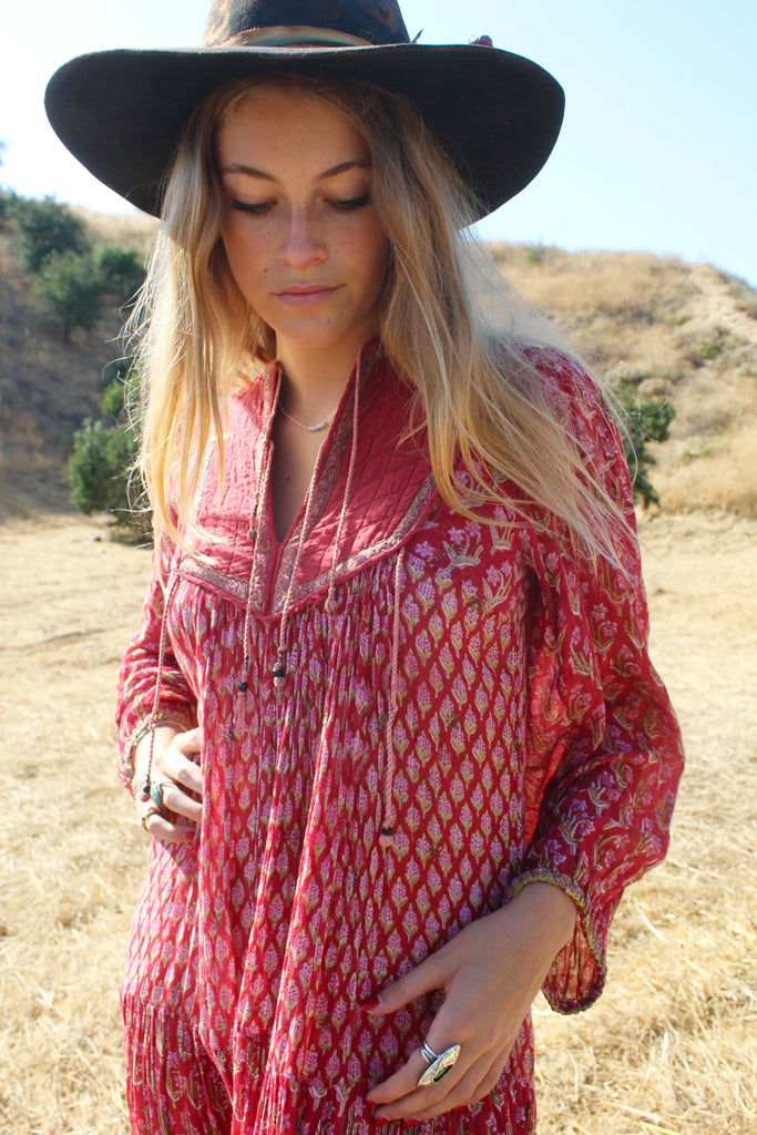 """Scarlet Begonia"" Dreamy 1970s Cotton Indian Gauze Dress"