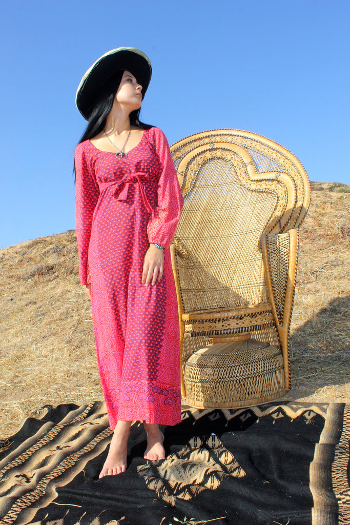 Circa 1970s Indian Block Print Maxi Dress