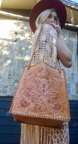 """Lily of the Valley"" 1960s Hand Tooled Leather Purse"