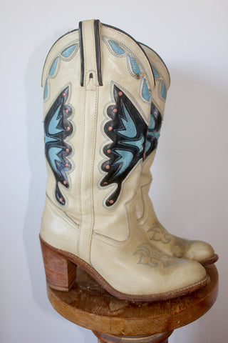 1970s Vintage Miss Capazio Butterfly Inlay Cowgirl Boots