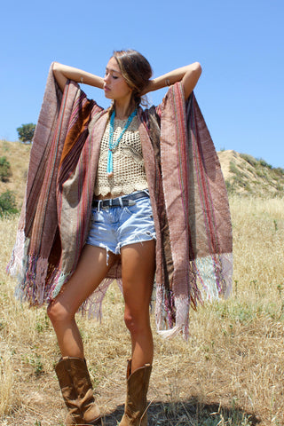 """Earth Weaver"" Handwoven Vintage Wool Poncho"