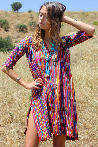"""Electric"" Antique Handwoven Guatemalan Tunic Huipil"