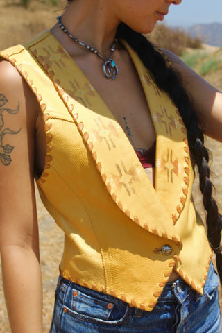 """Wild Horses"" One of A Kind Hand Painted Kemo Sabe Deerskin Vest"